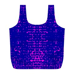 Blue And Pink Pixel Pattern Full Print Recycle Bags (l)