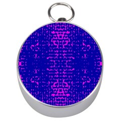 Blue And Pink Pixel Pattern Silver Compasses