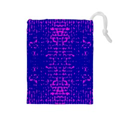 Blue And Pink Pixel Pattern Drawstring Pouches (large)