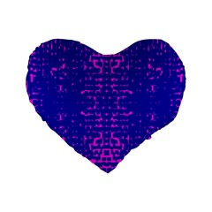 Blue And Pink Pixel Pattern Standard 16  Premium Flano Heart Shape Cushions