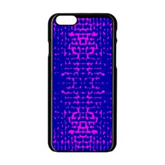 Blue And Pink Pixel Pattern Apple Iphone 6/6s Black Enamel Case