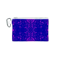 Blue And Pink Pixel Pattern Canvas Cosmetic Bag (s)