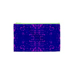 Blue And Pink Pixel Pattern Cosmetic Bag (xs)