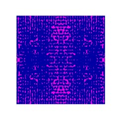 Blue And Pink Pixel Pattern Small Satin Scarf (Square)