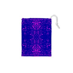 Blue And Pink Pixel Pattern Drawstring Pouches (xs)
