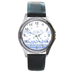 Blue And White Floral Background Round Metal Watch