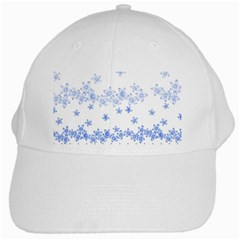 Blue And White Floral Background White Cap