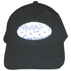 Blue And White Floral Background Black Cap