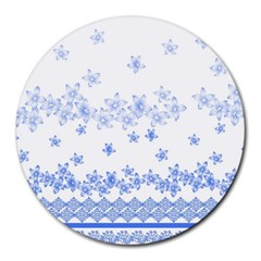 Blue And White Floral Background Round Mousepads