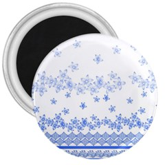 Blue And White Floral Background 3  Magnets