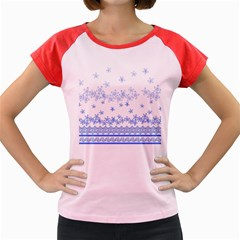 Blue And White Floral Background Women s Cap Sleeve T Shirt