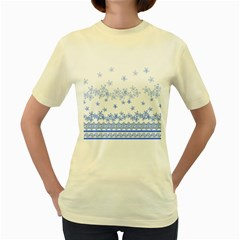 Blue And White Floral Background Women s Yellow T Shirt