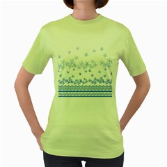 Blue And White Floral Background Women s Green T Shirt