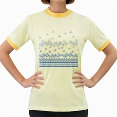Blue And White Floral Background Women s Fitted Ringer T Shirts