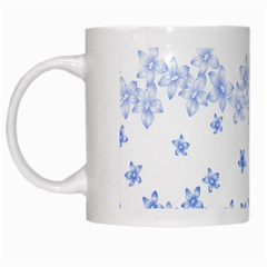 Blue And White Floral Background White Mugs