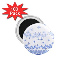 Blue And White Floral Background 1 75  Magnets (100 Pack)