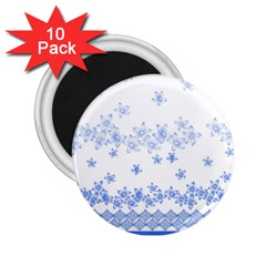 Blue And White Floral Background 2.25  Magnets (10 pack)
