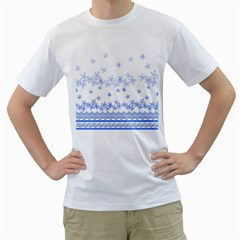 Blue And White Floral Background Men s T Shirt (white) (two Sided)