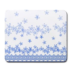 Blue And White Floral Background Large Mousepads