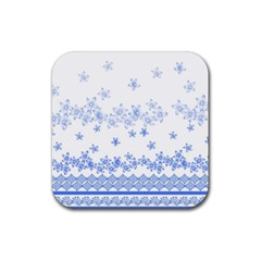Blue And White Floral Background Rubber Coaster (square)