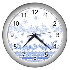 Blue And White Floral Background Wall Clocks (silver)