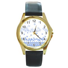 Blue And White Floral Background Round Gold Metal Watch