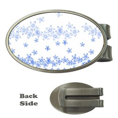 Blue And White Floral Background Money Clips (oval)