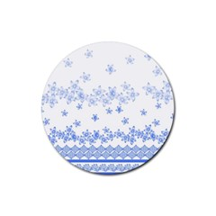 Blue And White Floral Background Rubber Round Coaster (4 Pack)