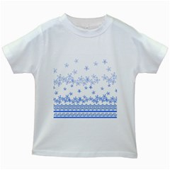 Blue And White Floral Background Kids White T Shirts