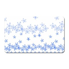 Blue And White Floral Background Magnet (Rectangular)
