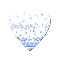 Blue And White Floral Background Heart Magnet