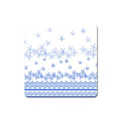 Blue And White Floral Background Square Magnet
