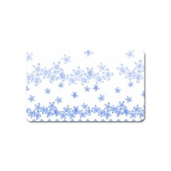 Blue And White Floral Background Magnet (Name Card)