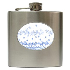Blue And White Floral Background Hip Flask (6 Oz)