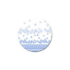 Blue And White Floral Background Golf Ball Marker