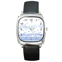 Blue And White Floral Background Square Metal Watch