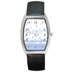 Blue And White Floral Background Barrel Style Metal Watch
