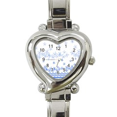 Blue And White Floral Background Heart Italian Charm Watch