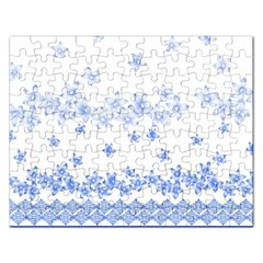 Blue And White Floral Background Rectangular Jigsaw Puzzl