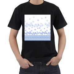 Blue And White Floral Background Men s T Shirt (black) (two Sided)