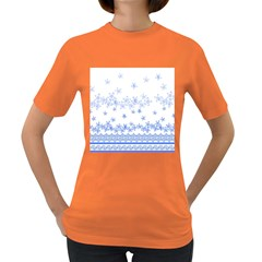 Blue And White Floral Background Women s Dark T Shirt