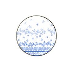 Blue And White Floral Background Hat Clip Ball Marker (4 Pack)