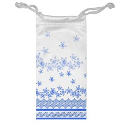 Blue And White Floral Background Jewelry Bag