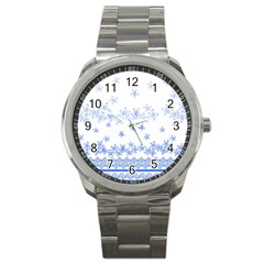 Blue And White Floral Background Sport Metal Watch