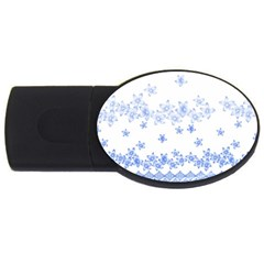 Blue And White Floral Background Usb Flash Drive Oval (4 Gb)