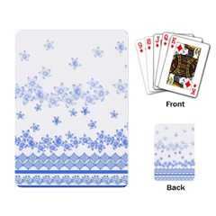 Blue And White Floral Background Playing Card