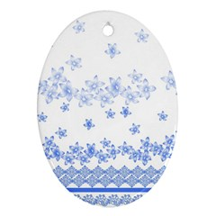 Blue And White Floral Background Oval Ornament (two Sides)