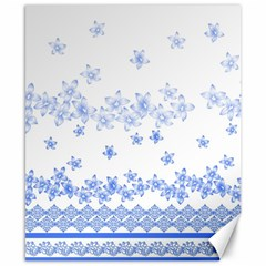 Blue And White Floral Background Canvas 8  X 10