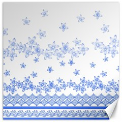 Blue And White Floral Background Canvas 20  X 20