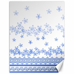 Blue And White Floral Background Canvas 18  X 24